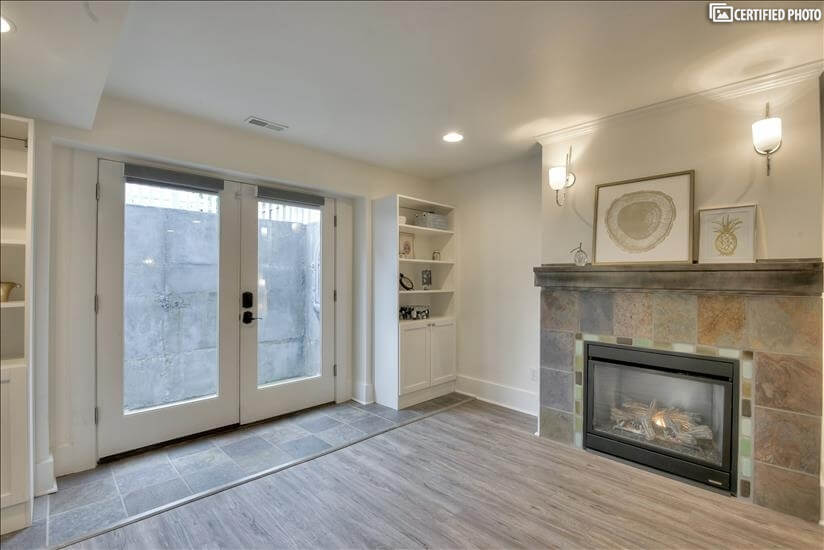 French Doors & Fireplace