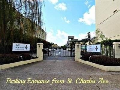 Gated entrance to parking