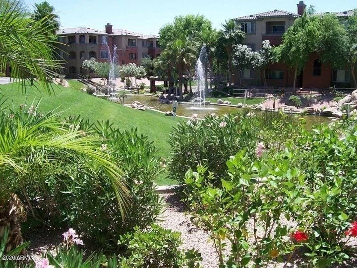 Community green space, water fountains and ponds