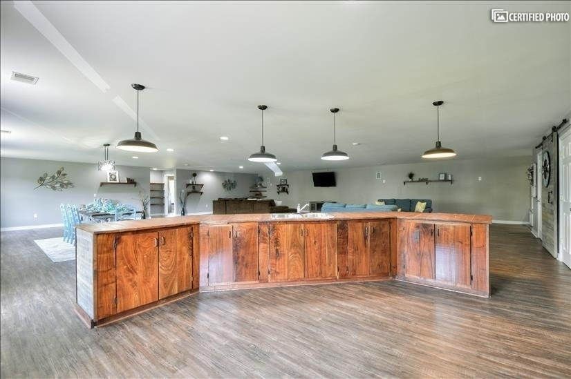 Large kitchen island with ample storage.