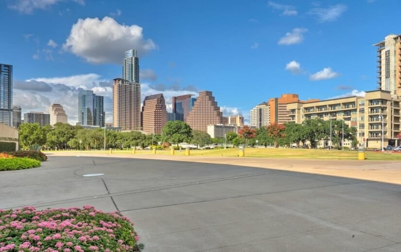 Austin skyline from Long Center and Auditoriu