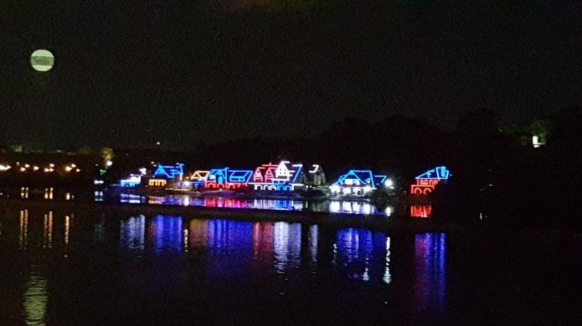 Famous Boathouse Row at night