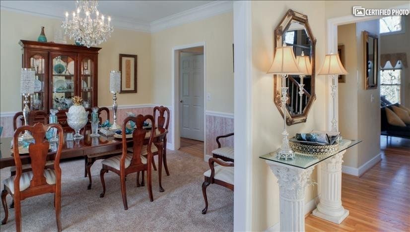 Crystal chandelier to set the mood for formal dinners