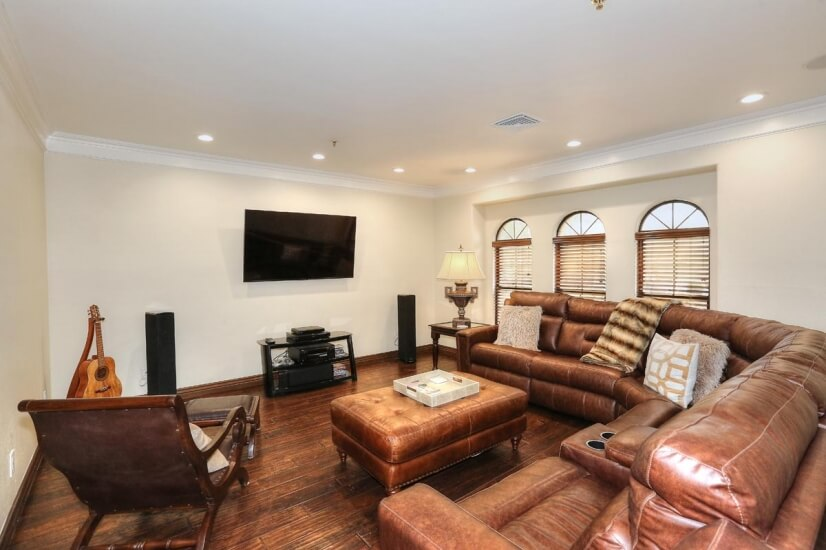 Separate living room/TV room with surround so
