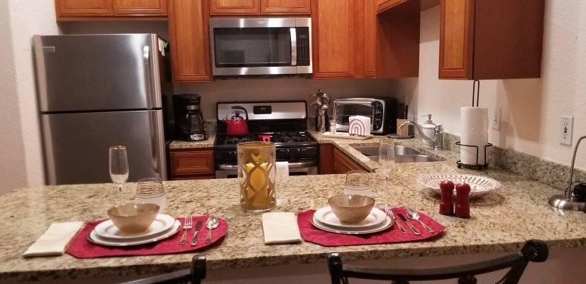 Kitchen: set for dinner