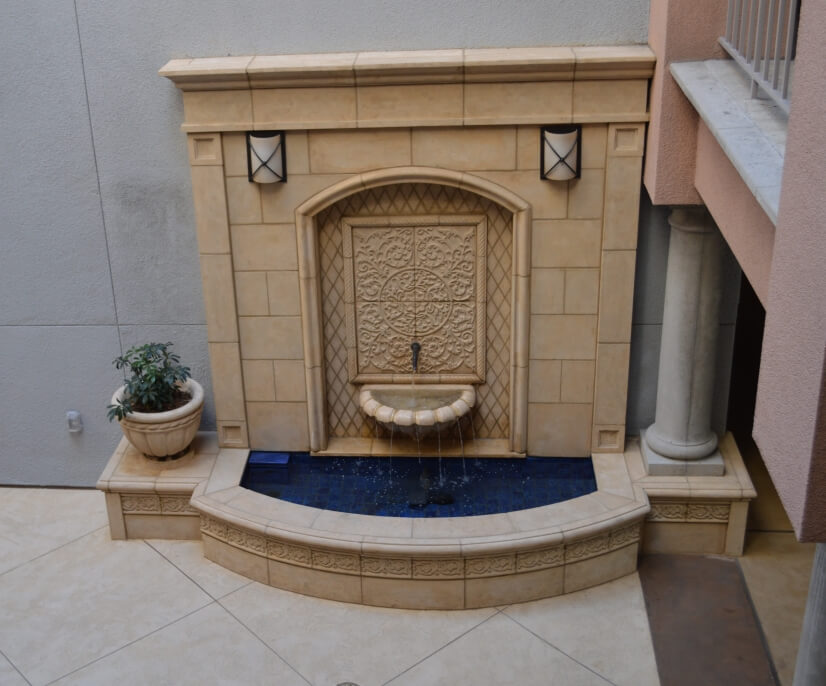 Fountain at building entry