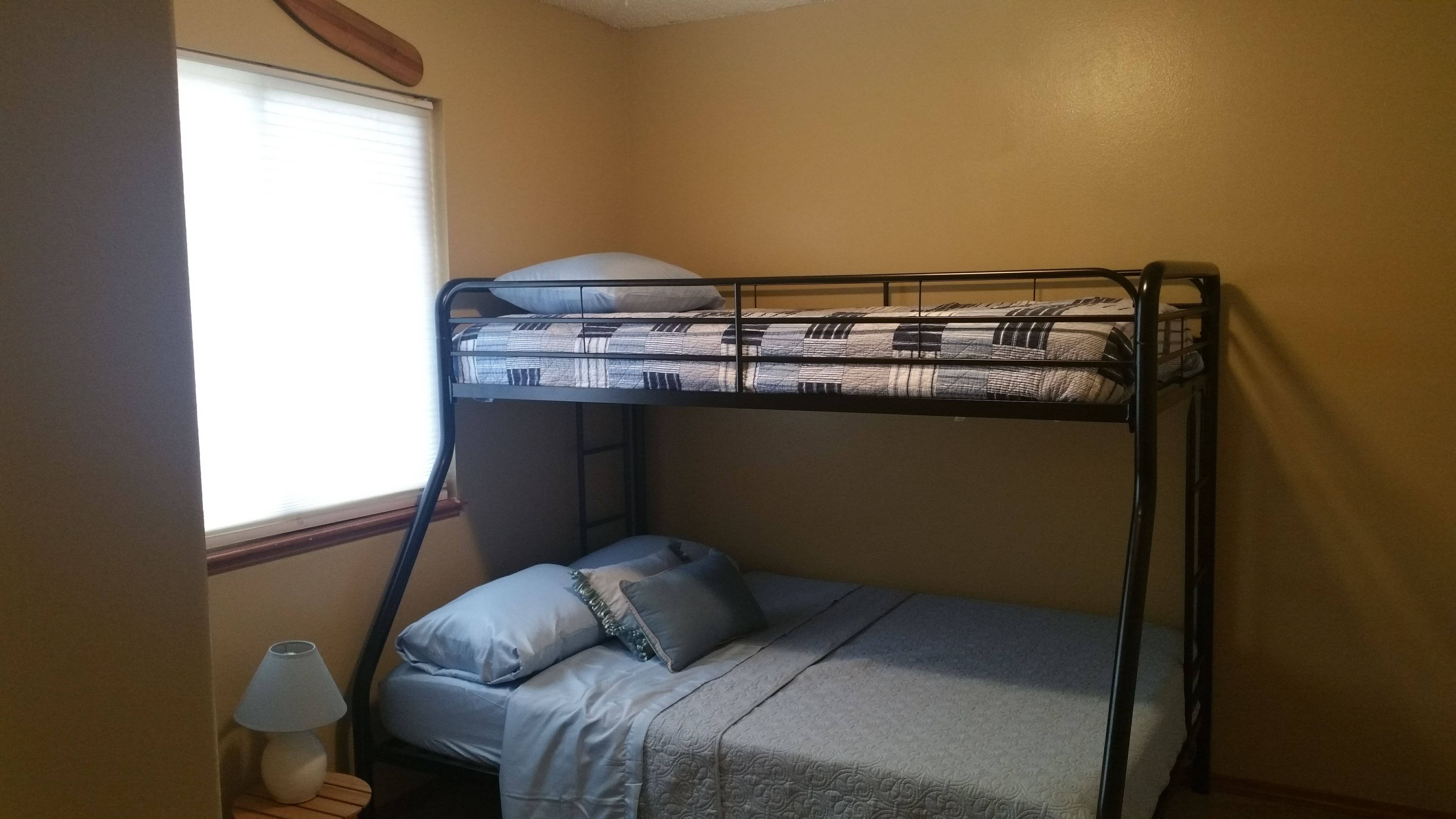 Upper Level Second Bedroom with twin over full bunk bed