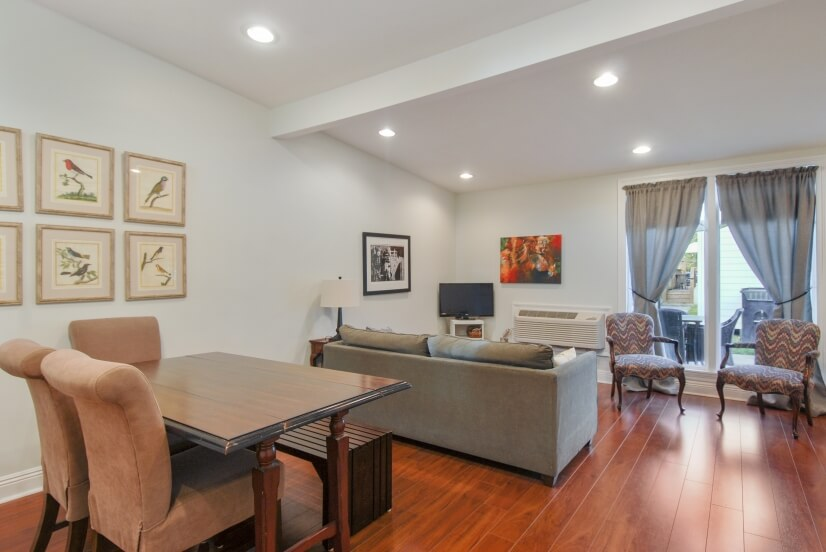 Kitchen/Dining room with sofa bed and FireTV