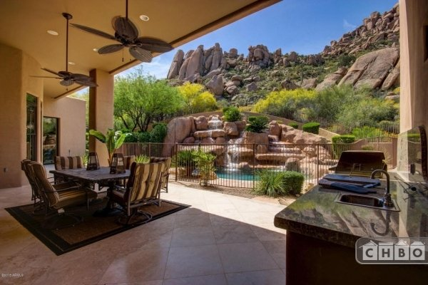 Outdoor patio with outdoor kitchen