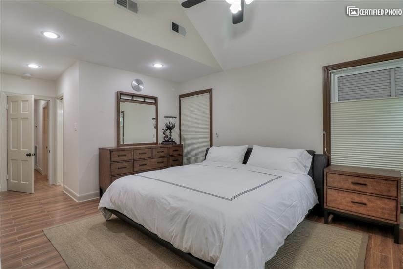 Master Bedroom - private, bright windows and blackout shades