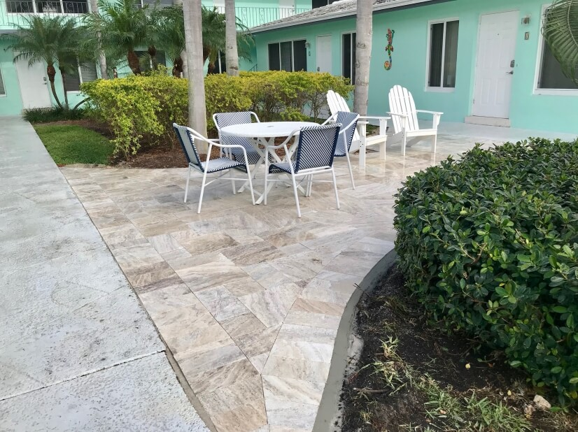 Travertine patio for guests' enjoyment