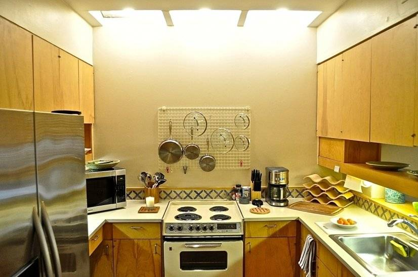 Fully stocked kitchen: stove, microwave, and convection oven