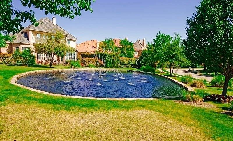 Beautiful Waterfountain Pond Located In Front Of The Prop