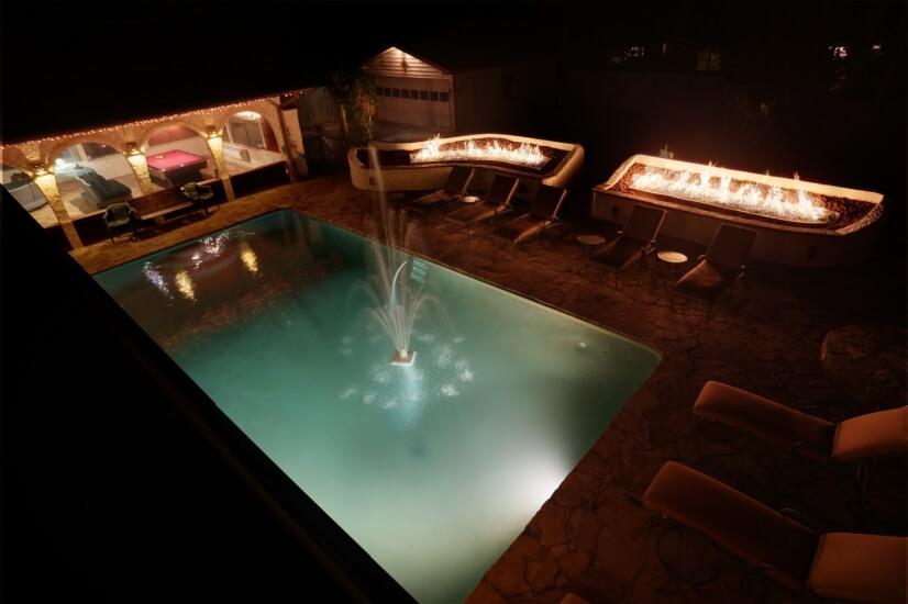 Backyard Oasis at night