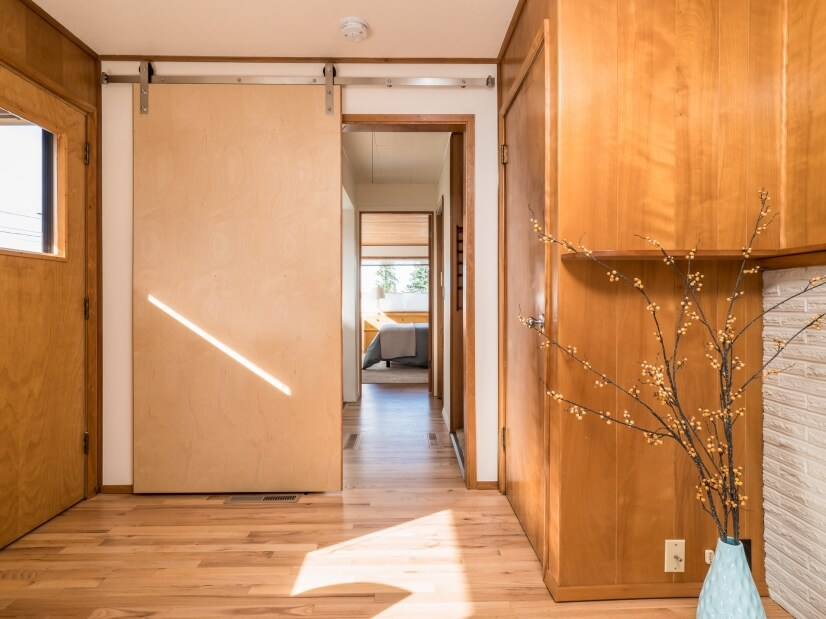 Barn door to close off separate bedroom wing