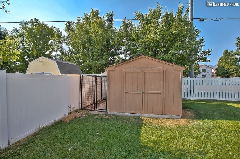 Utility shed and dog run