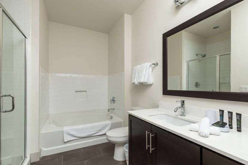 Master bath has a walk-in closet, walk-in shower and tub.