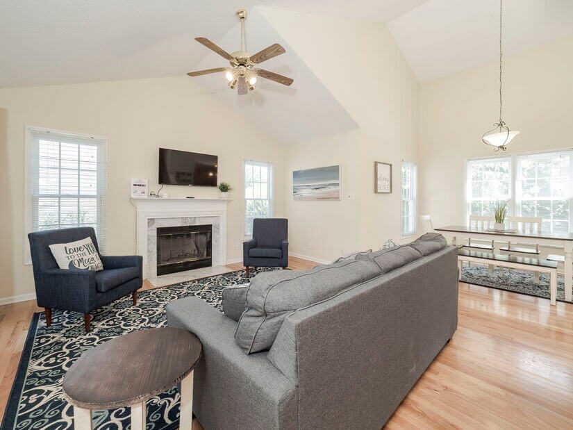 Family Room with Pull Out Couch and Roku TV