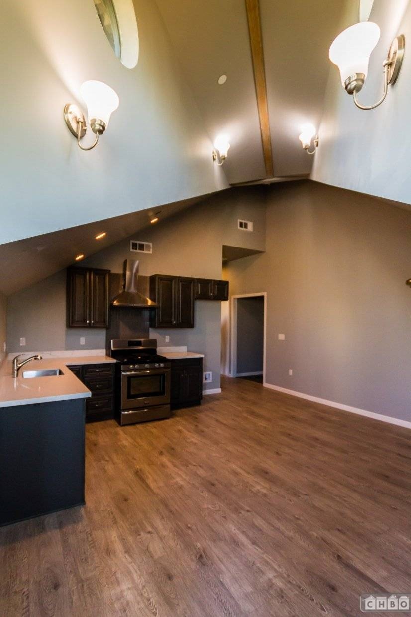 open floor plan and new appliances
