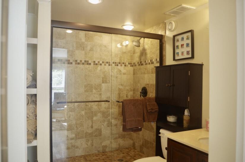 En suite bathroom has walk in shower