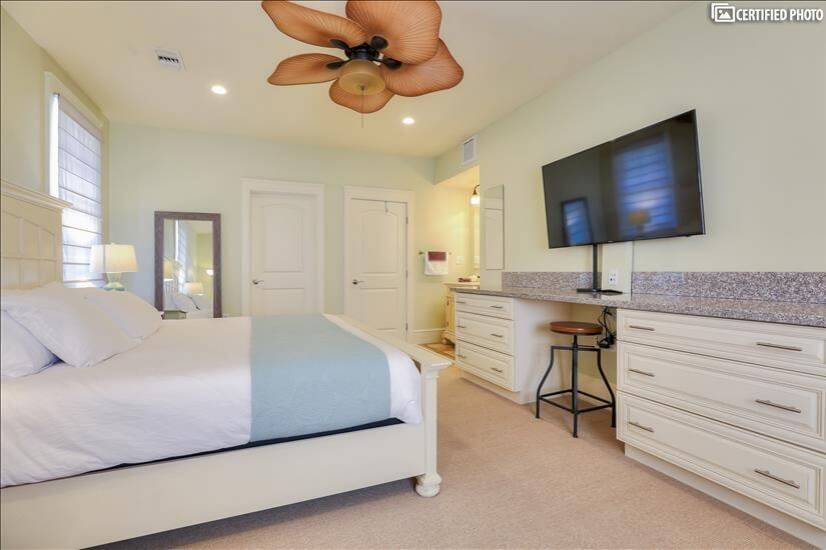 Master Bedroom Mounted 55 inch Flat Screen TV