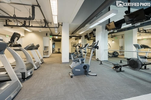 Deluxe fitness area treadmills, bikes, ellipt