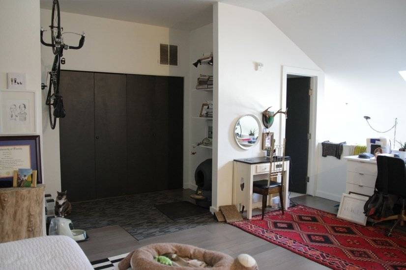 Upstairs vanity. W/D behind bifold doors