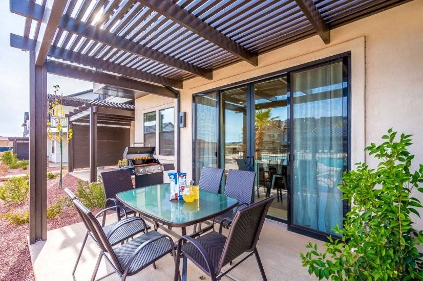 Back Patio dining table and barbecue