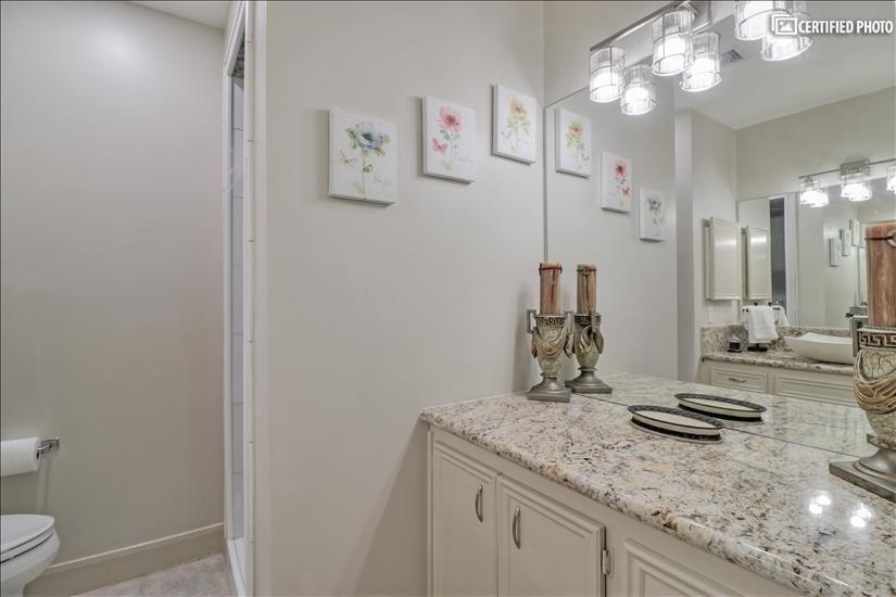 Master Bathroom - Extra Vanity across the sink.