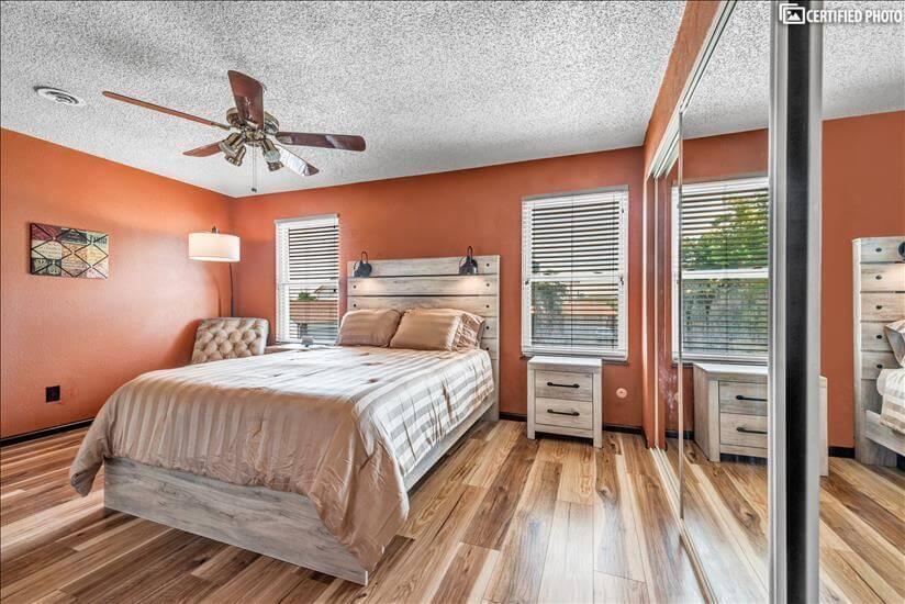 Master bedroom features new MattressFirm queen mattress
