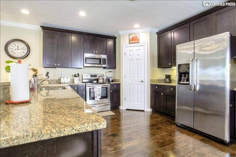 All stainless steel appliances and granite couter tops
