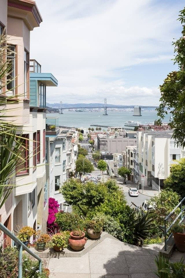 Bay Bridge view from iconic Vallejo St steps, your new home