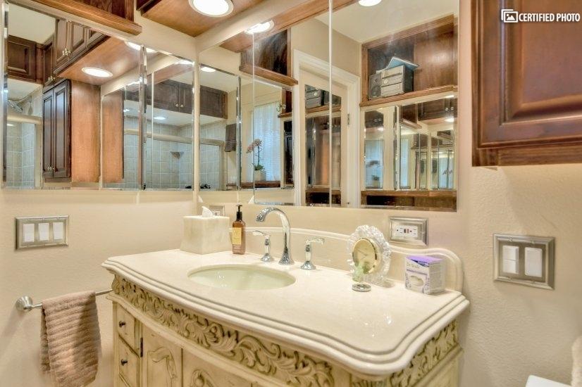 Marble vanity in bathroom.