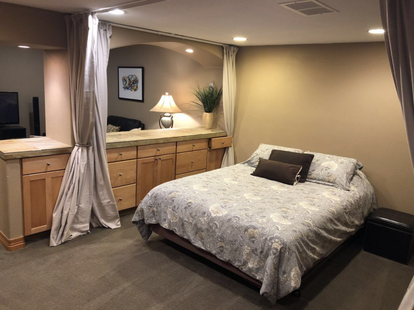 Fully private den area converted to sleeping room