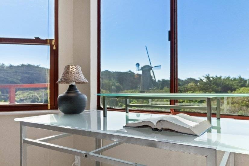 Office area looking out at Ocean and famous windmill