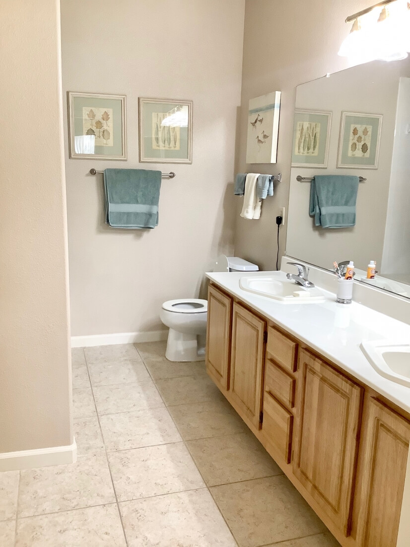 Master bath with double sinks and bath tub
