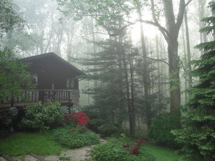 Chalet on a misty morning