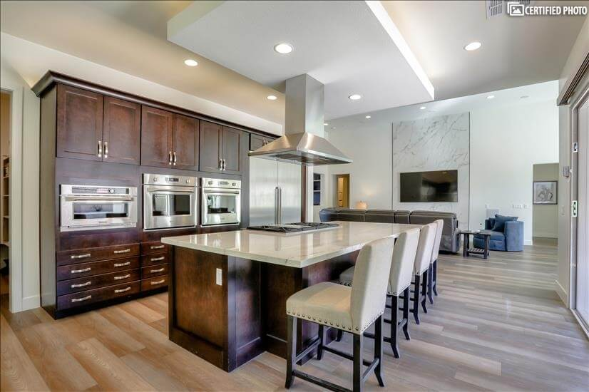 Turn key Gourmet Kitchen . Island seats 6  with Views!
