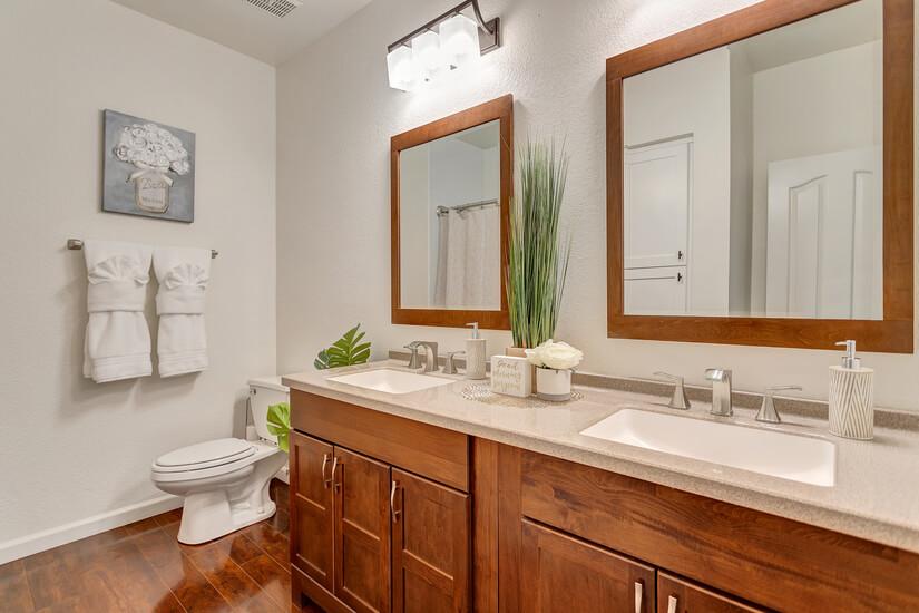 Bathroom 2 has a shower tub combo