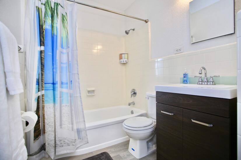 Hair dryer, towels, shampoo/conditioner/body wash dispenser