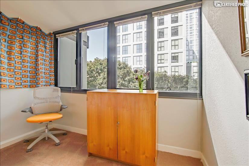 "View WFH area: Knoll Generation chair, teak ""Magic box"" desk"