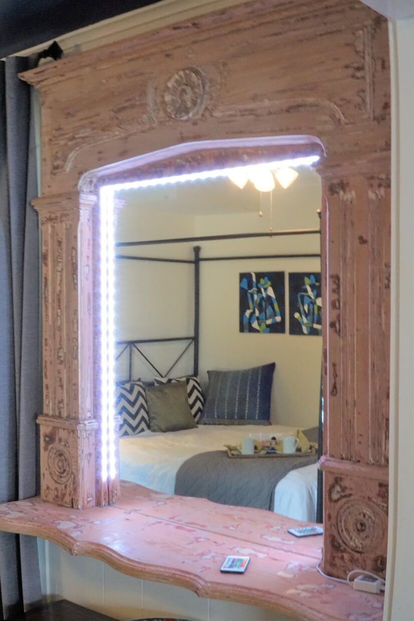 Mirror with LED lights and remote control.