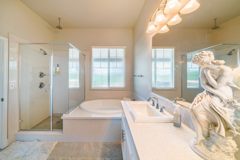 Master bathroom with nice quartz upgrade