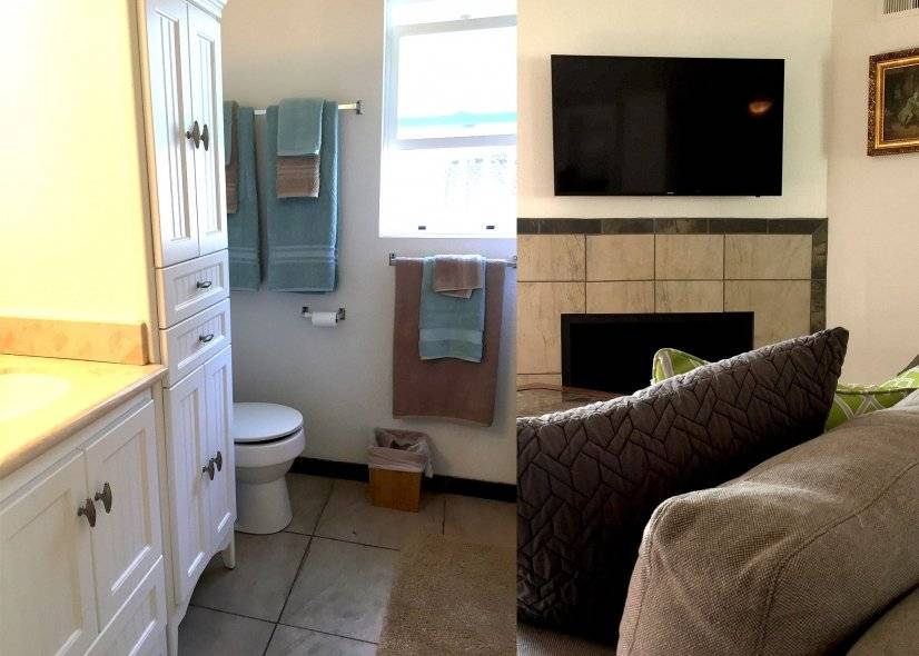 Bathroom Left pic.. Fireplace in Living Room right