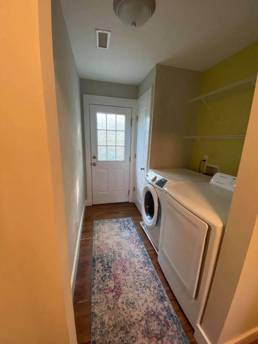 Laundry, door to backyard