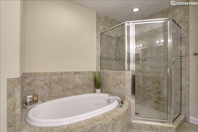 Two amazing options - deep jetted tub or roomy shower