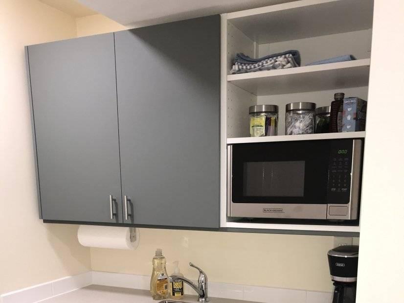 Mini fridge, microwave, coffee maker, basic k