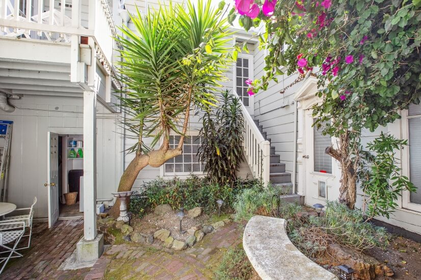 Enclosed courtyard and rear door