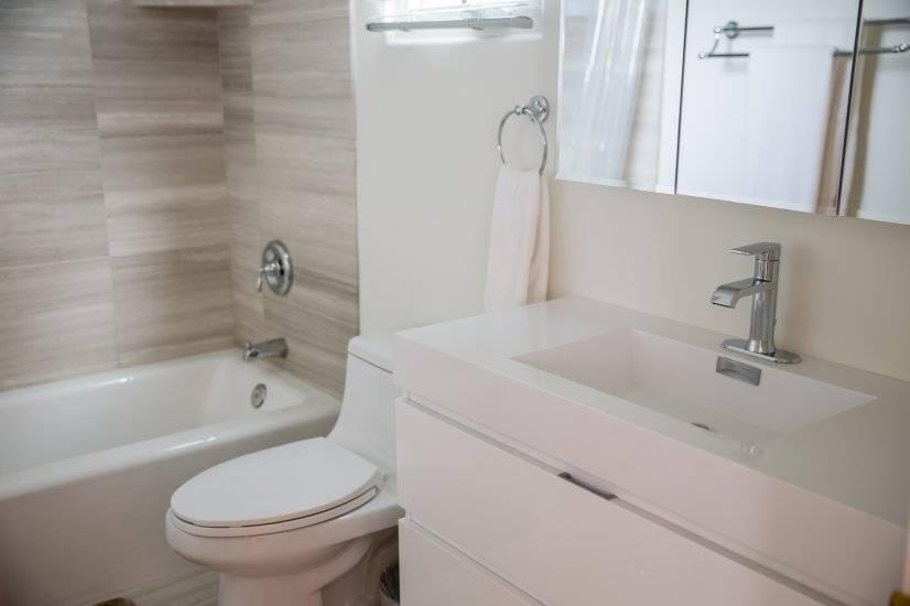 Custom Bathroom with floating vanity.