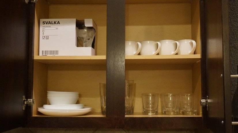 Dinner set with coffee cups and wine glasses